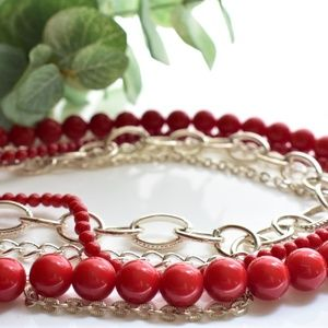 Red And Silver Beaded Multi Strand Necklace